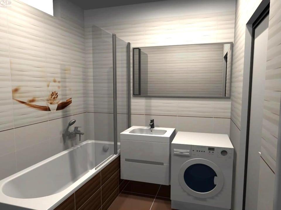 3D návrh bielej kúpeľne