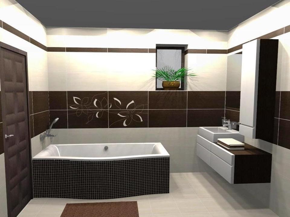 3D návrh hnedej kúpeľne