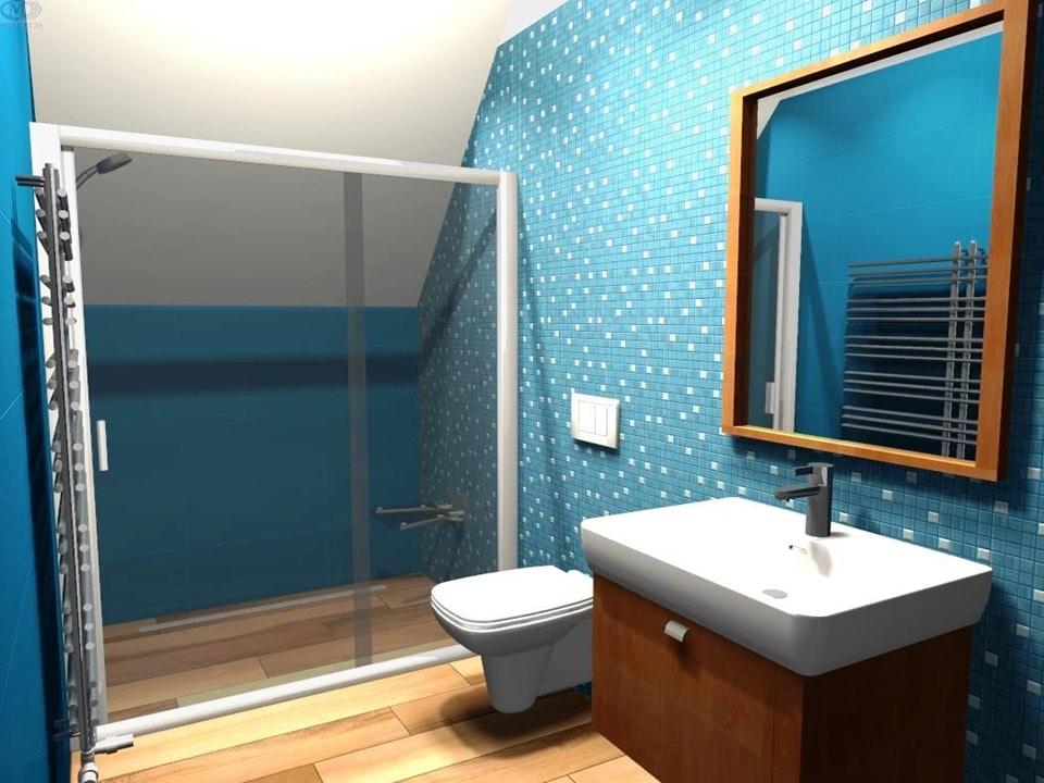 3D návrh kúpeľne s mozaikou