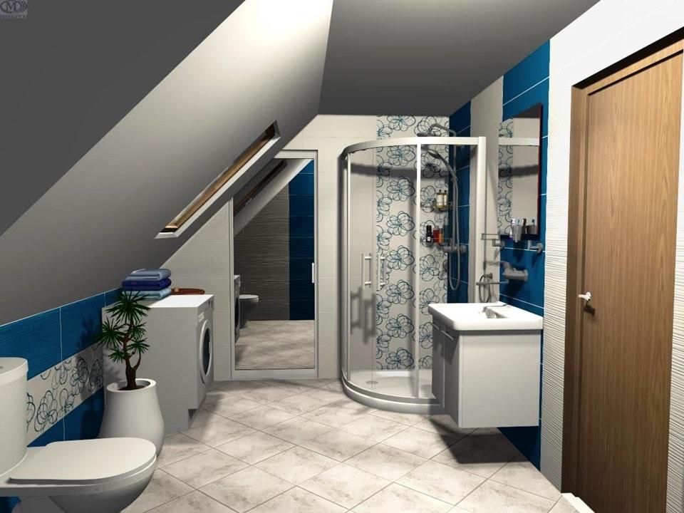 3D návrh podkrovnej kúpeľne