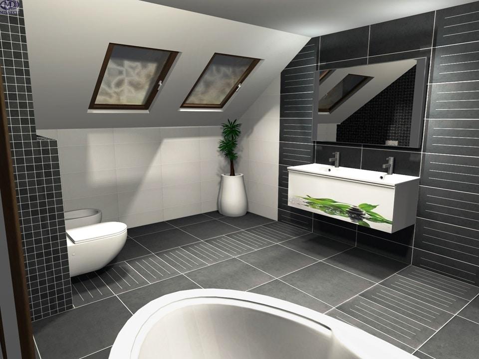 3D návrh šedej kúpeľne