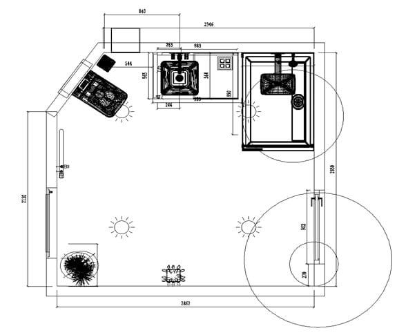 nákres (dispozícia) priestoru budúcej kúpeľne